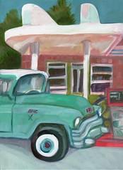 classic clarkdale (EllenJo) Tags: art truck vintage painting gasstation mechanic gmc verdevalley smalltownlife acryliconcanvas 12x16 february3 clarkdaleaz clarkdalearizona ellenjo ellenjoroberts clarkdaleclassicstation february2016 april2016artshow localcharacterartshow
