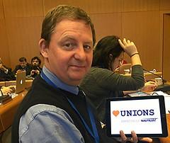 Nautilus general secretary Mark Dickinson supporting Heart Unions in Geneva (nautilus.international) Tags: mark nautilus tuc dickinson heartunions