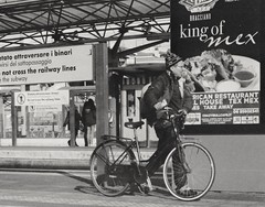 King of Mex (H2o4you) Tags: bicycle advertising 50mm king olympus trainstation zuiko om1 50mmf14 mex bicicletta ilfordxp2super400