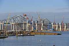 Picture Of The Left Coast Lifter Working At The Site Of The 3.9 Billion Dollar New Tappan Zee Bridge Project. The Left Coast Lifter Was Installing The Third Crossbeam On One Of The Main Span Towers Today February 29, 2016. Photo Taken Monday 022916 (ses7) Tags: new construction zee tappan phase bridgeny