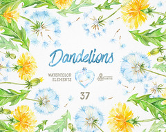 Dandelions 37 Watercolor Elements. Clipart, blowballs, floral wedding, invitation, greeting card, diy clip art, flowers, quote, love, jars (octopusartis) Tags: flowers wedding art floral digital watercolor dandelion clip invitation elements clipart watercolour valentines dandelions blowball