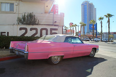 Pinktastic (Flint Foto Factory) Tags: city las pink vegas winter wedding urban white holiday classic station restaurant hotel store downtown weekend top nevada sunday elvis motel convertible chapel cadillac gas americana service 1970 weddings february superbowl ihop deville coupe 2205 convenience circlek 2016 lasvegasblvd internationalhouseofpancakes holidaymotel worldcars slasvegasblvd holidayhousemotel littlevegaschapel