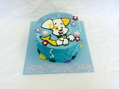 Dog-Fish Cake (tasteoflovebakery) Tags: birthday pink flowers blue red dog fish water cake kids children kid underwater purple name under bubbles bubble third mermaid 3rd dogfish bubbleguppies