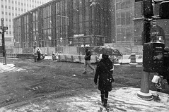 Negotiating with the Snow (Lojones13) Tags: street winter snow newyork snowflakes unbrella winterscene negotiating