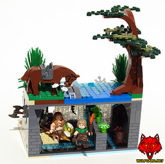 Sample Contest Entry: The Dungeon Behind the Falls (Saber-Scorpion) Tags: lego contest fantasy vignette brickforge wulfgard brickwarriors