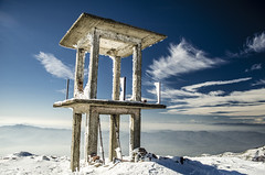 Former surveillance towers on peak Kongur (1951m) (Toni Terziev) Tags: mountain snow mountains landscape landscapes peak bulgaria belasica 500px