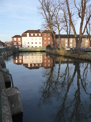 Reflections in the Great Stour in Canterbury (P1040696) (alg24) Tags: uk bridge trees england reflection building tree water buildings reflections river reflecting kent flickr bridges canterbury rivers reflective greatstour