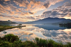 Morning Glow at Sun Moon Lake , (Vincent_Ting) Tags: morning sunset sky lake water clouds sunrise dawn pier taiwan galaxy   crepuscularrays  sunmoonlake                  vincentting