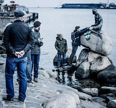 Are we supposed to be looking at the statue? (framespotter) Tags: statue scarf copenhagen lumix little political hans christian promenade danish edvard mermaid author andersen activists defacement vandals langelinie eriksen gx7
