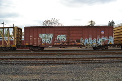 DSC_2731 (huntingtherare) Tags: train bench graffiti ribs ribcage ons freight rollingstock benching
