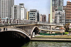Tenjin-bashi (bridge),Nakanoshima , Osaka (jtabn99) Tags: road street bridge building japan skyscraper town downtown sidewalk nippon osaka  nakanoshima   kitahama      20160406