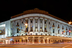 Eastman (mulveyraa2) Tags: street city urban newyork building cars night lights us long exposure theater unitedstates theatre flags rochester eastman exported