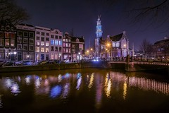 Westerkerk (karinavera) Tags: street city longexposure travel urban amsterdam night canals westerkerk nikond5300
