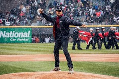 Chance the Rapper (Joshua Mellin) Tags: snow chicago snowing chance bennett whitesox openingday uscellularfield chicagowhitesox 2016 chancelor acidrap chancetherapper chancelorbennett