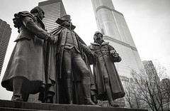 Bookends (BryanNewland) Tags: chicago monument statue downtown unity tolerance irony bookends trumptower donaldtrump ironic trump georgewashington nevertrump