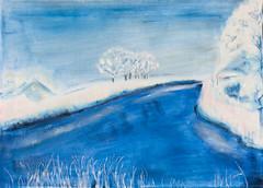 Winterlandschaft (kunstgrafik) Tags: schnee kunst jahreszeit blau fluss eis landschaft weiss samt klte lgemlde luethi zeitgenssisch abdelghafar