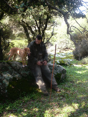 Ikaria's remotest hinterland 52 - A friend, his staff and his dog (angeloska) Tags: dog man march ikaria aegean greece hiker pezi hinterland hikingtrails   langada ikarian    vrakades  opsikarias