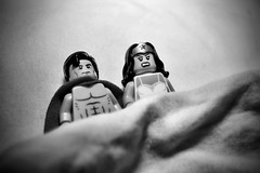 The reaction when the man of steel is more like the flash (Silverio Photography) Tags: blackandwhite photoshop canon toy dc lego superman wonderwoman elements pancake 24mm minifig vignetting topaz adjust