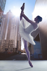Ballerina in modern urban setting (CoriJae) Tags: ballerina ballet tutu dance tiptoe split studio classic pose perfomance theater pointes artist action art movement pointework woman female elegance russianfederation modern architecture low point view legs feet en pointe