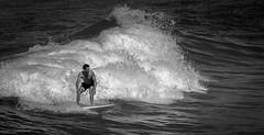 Taking a Ride (Simon Pratley) Tags: ocean city urban bw blancoynegro beach water monochrome canon landscape person coast blackwhite surf waves surfer sydney wave australia surfing surfboard manlybeach queenscliff northernbeaches blancetnoir queenscliffbeach