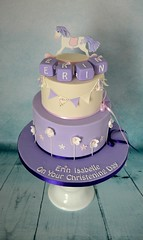 Rocking Horse Christening Cake (Kennet House Cakes) Tags: flowers horse girl cake purple christening blocks rockinghorse christeningcake