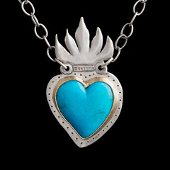 Tiny turquoise Milagros heart