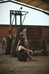 2014 (Laurene Smith) Tags: red people brown selfportrait tractor faceless vignette
