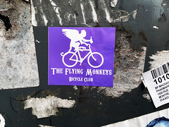 The Flying Monkeys Bicycle Club (Exile on Ontario St) Tags: bike bicycle silhouette club mailbox monkey cyclists flying sticker funny cyclist purple montral mail absurd box montreal stickers drinking violet bikes ape letter mauve monkeys letterbox oldmontreal chimpanzee bicyclette vlo bikers vieux autocollant vlos canadapost vieuxmontral flyingmonkey cyclistes flyingmonkeys collant postecanada bicycleclub bcane flyingmonkeysclub