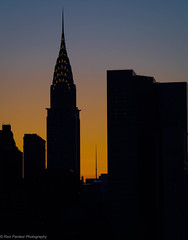 Chrysler Building, NYC (ravi_pardesi) Tags: nyc sunset usa sun newyork silhouette skyline architecture contrast gold evening downtown outdoor midtown queens serene chryslerbuilding awesomeness primeshot