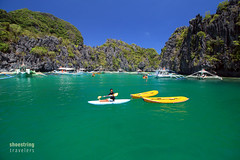 Kayaks, Small Lagoon (engrjpleo) Tags: travel sea seascape beach water rock landscape island boat seaside outdoor philippines lagoon shore elnido palawan waterscape miniloc smalllagoon