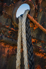 Hull, Hole, Ropes (stevedewey2000) Tags: blue red abstract boat rust ship rusty minimal devon rusting ropes minimalism minimalist northdevon rivertorridge minolta100200
