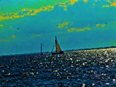 Sailboat In 1 (Fire Engine Red) Tags: sky canada nature water lakeerie essexcounty horizon digitalart knot leamington sailboats grapevine southwesternontario havingfunwiththis corelpainteressentials5 iloveplayingwithcorelstuff