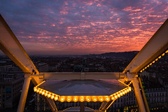 Hello from up there (ElmerstarK) Tags: city sunset sky orange france clouds skyscape lights cityscape lyon outdoor ferriswheel nuages fr extérieur goldenhour coucherdesoleil rhônealpes