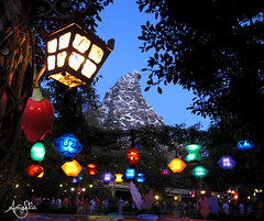 Matterhorn Mountain (Galactic Dreams) Tags: park travel family flowers mountain colors night fun lights evening starwars scary force disneyland disney fairy lanterns colorfullights rollercoaster matterhorn brightcolors mad teacup angela dlr bobsled teaparty attraction disneylandresort paperlanterns matterhornmountain lanternlights disneyatnight colorfullantern galacticdreams simplymad seasonoftheforce
