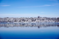 Winter Pond ((Jessica)) Tags: blue trees winter white snow reflection ice nature water boston landscape frozen pond massachusetts newengland minimal clean clear simple minimalist pw emeraldnecklace jamaicapond winterstormlexi
