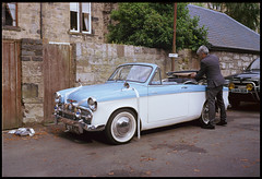 Hillman Minx Convertible (Pgcc) Tags: wedding colour classic film car vintage scotland glasgow transport convertible rangefinder chrome 35mmfilm minx vehicle 1960s revue400se aa rac hillman tyre whitewall weddingcar hillmanminx twotone motoring handbuilt coachbuilt kodakektar100 plustek8200ifilmscanner