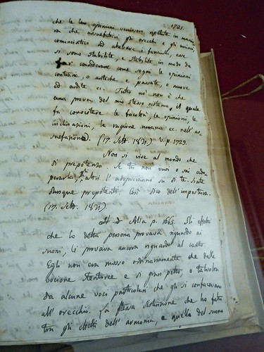 """Zibaldone di Pensieri"" (page 1721; September 17, 1821) by Giacomo Leopardi - autograph - Temporary exhibition - National Library of Naples"