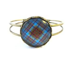 Ancient Romance Series - Scottish Tartans Collection - Anderson Clan Tartan 25mm Crown Edge Split Cuff Bracelet