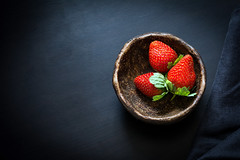 Strawberries (Arx0nt.) Tags: wood red summer food macro green love nature beautiful closeup fruit ceramic dessert march leaf vegan spring juicy healthy strawberry berry key colorful raw day view natural sweet eating top background space low rustic tasty bowl fresh mothers gourmet health snack vegetarian valentines organic copy freshness ripe ingredient vitamin