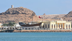 Oman - 2015-1398a (MacClure) Tags: tower museum boat sur oman watchtower dhow ghanjah