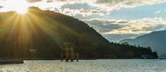 Miyajima - sunset (NettyA) Tags: travel winter sunset water japan island japanese gate asia floating miyajimaisland miyajima itsukushimashrine sunrays unescoworldheritage hightide itsukushima 2015 mtmisen otoriigate