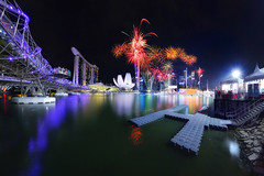 Ushering in the Monkey Year (night86mare) Tags: new city bridge panorama skyline marina way monkey bay singapore cityscape fireworks year chinese fujifilm helix sands lunar shenton xt1 artsciience