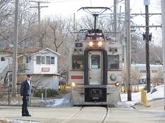 Crossing Gate Failure (codeeightythree) Tags: electric train south shoreline indiana interurban nictd conductor catenary michigancity panograph michigancityindiana interurbanrailroad southshorerailroad passengerservice