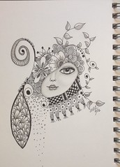 Zen Journal Doodle. (T.Goller) Tags: girl whimsy drawing doodle whimsical zentangle zendoodle