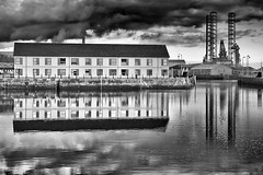 Dark Skies (scrimmy) Tags: sky blackandwhite water monochrome scotland harbour dundee dundeecityquay