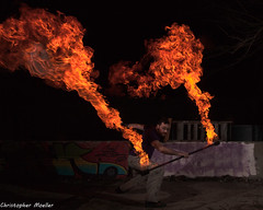 Torch (Christopher Moeller) Tags: fire detroit staff firespinning burner burnoff dfc fireperformance firestaff fireperformer detroitfirecollective detroitareafireperformer firestaffburnoff staffburnoff keegansunshinekuvach sunshinefireproductions