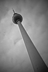 Television Tower Berlin (I M Roberts) Tags: bw berlin televisiontower fujix100s