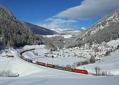 RoLa train ,  Sankt Jodok, 9 March 2016 (Mr Joseph Bloggs) Tags: snow st train austria march merci brenner railway cargo taurus bahn freight brennero sankt rola 1016 obb jodok 1116 worgl