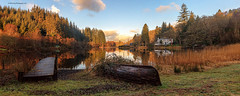 Loch Ard at Sunrise (MilesGrayPhotography (AnimalsBeforeHumans)) Tags: uk morning trees autostitch panorama skyline sunrise canon reflections landscape outdoors photography eos dawn scotland pier boat morninglight spring europe glow britain wide scenic panoramic loch boathouse iconic benlomond ef waterscape 6d aberfoyle lochard f4l canonef24105mmf4lisusm canon6d lochardboathouse
