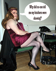 Kay at Totton Disco (Kay Bea Chisholm) Tags: camera black fur disco chair nikon sitting purple knickers trimmed kay feather catriona grace redhead transvestite heels cape flapper southampton winchester headband totton fishnettights